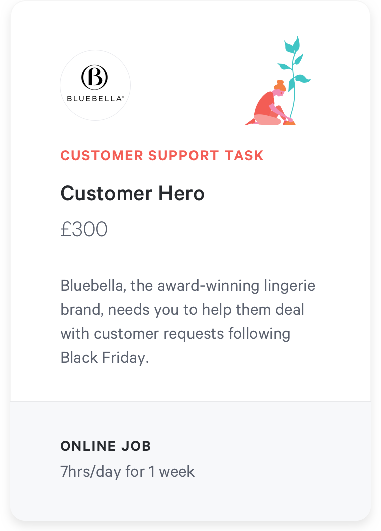 customer service support task